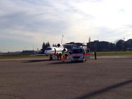 Rete ECMO per il trasporto aereo di malati: il decollo da Fano