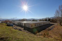 L'area container in zona Vallicelle a Camerino, disposta dalla protezione civile