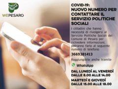 Attivazione del numero telefonico per raggiungere il Servizio Politiche Sociali di Pesaro