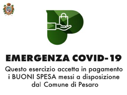 Locandina per le attività commerciali che accettano i buoni alimentari a Pesaro