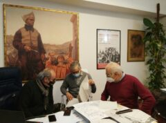 Da sinistra Paolini, Domenicucci e Cancellieri in riunione per problemi alla sede della Provincia
