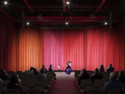 """Rendering del """"Piccolo"""" previsto presso il teatro Rossini di Pesaro"""